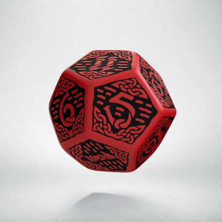 D12 Celtic 3D Red & black Die