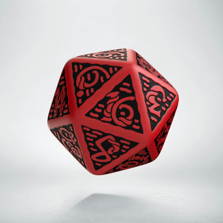 D20 Celtic 3D Red & black Die