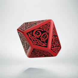 D100 Celtic 3D Red & black Die (1)