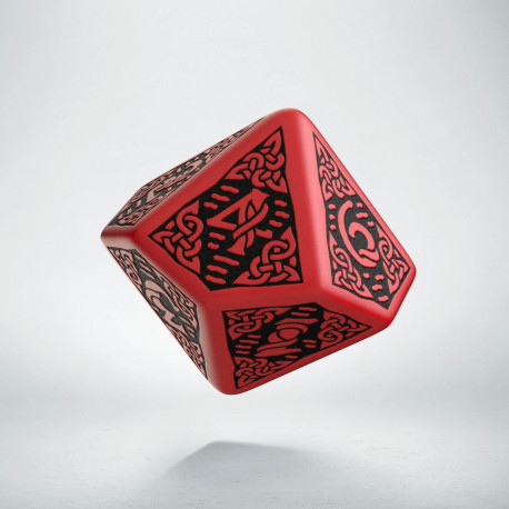 D10 Celtic 3D Red & black Die