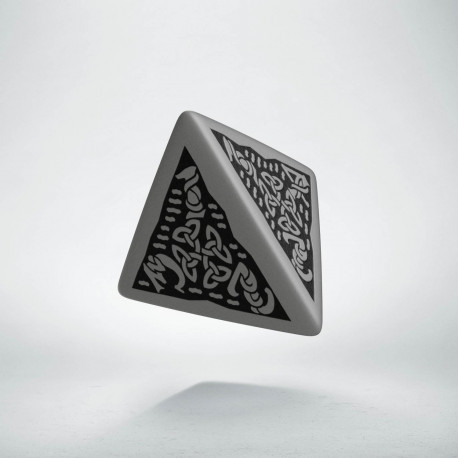 D4 Celtic 3D Gray & black Die
