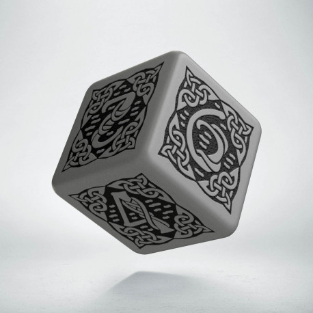 D6 Celtic 3D Gray & black Die