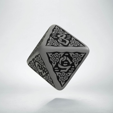 D8 Celtic 3D Gray & black Die