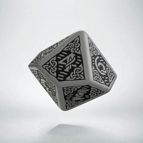 D10 Celtic 3D Gray & black Die