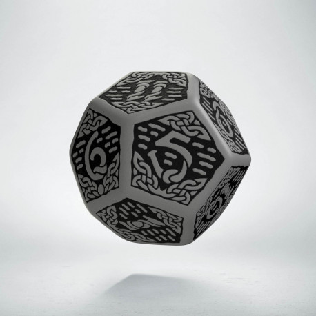 D12 Celtic 3D Gray & black Die