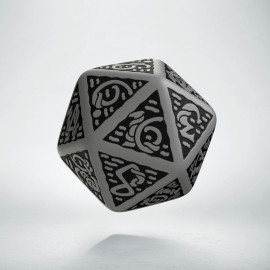D20 Celtic 3D Gray & black Die (1)