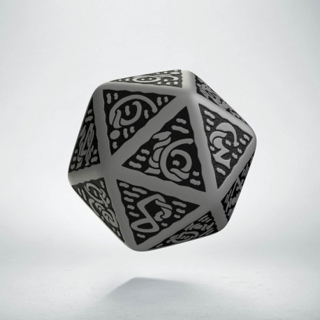 D20 Celtic 3D Gray & black Die