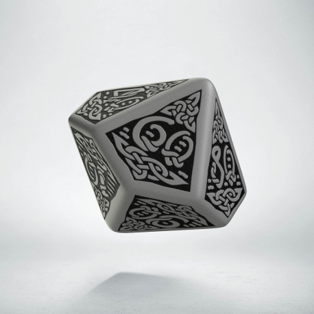 D100 Celtic 3D Gray & black Die