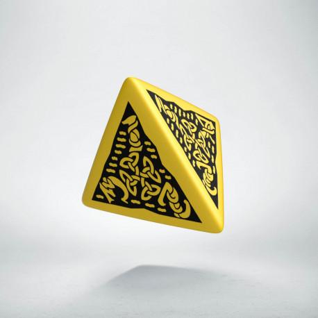 D4 Celtic 3D Yellow & black Die