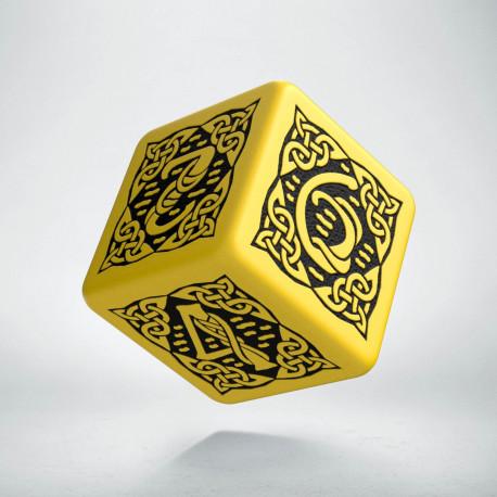 D6 Celtic 3D Yellow & black Die