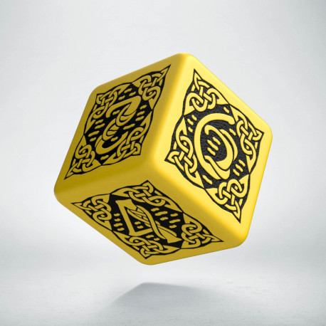 D6 Celtic 3D Yellow & black Die