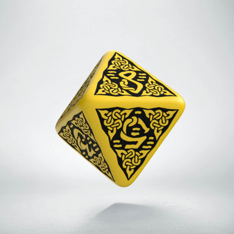 D8 Celtic 3D Yellow & black Die