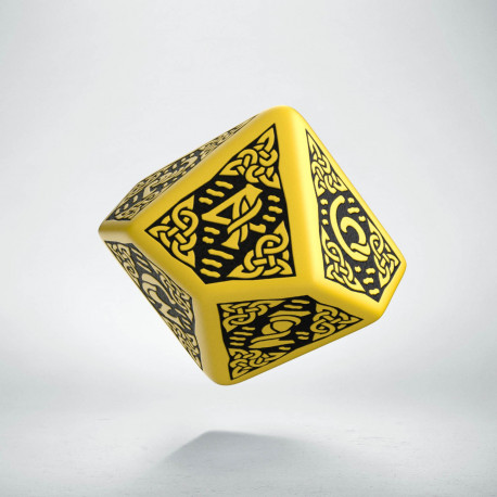 D10 Celtic 3D Yellow & black Die