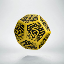 D12 Celtic 3D Yellow & black Die (1)