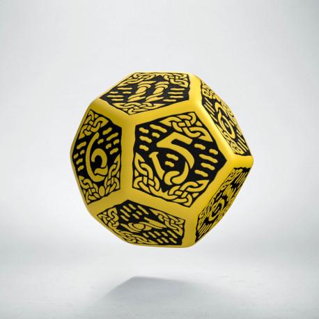 D12 Celtic 3D Yellow & black Die