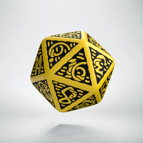 D20 Celtic 3D Yellow & black Die
