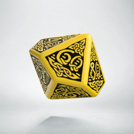 D100 Celtic 3D Yellow & black Die