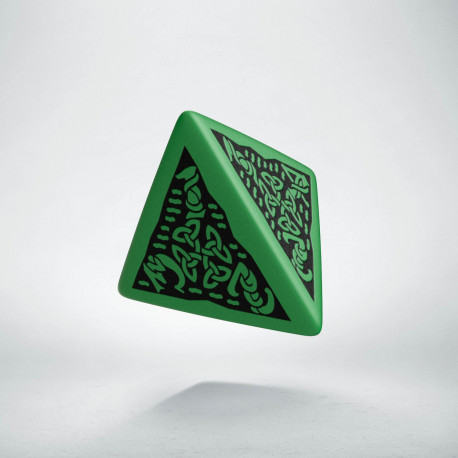 D4 Celtic 3D Green & black Die