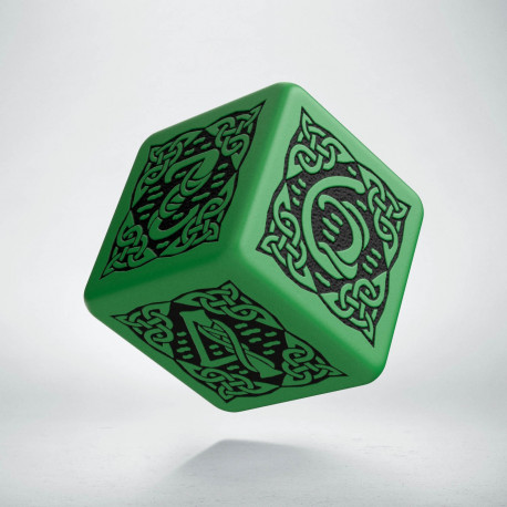 D6 Celtic 3D Green & black Die