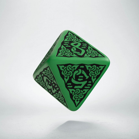 D8 Celtic 3D Green & black Die