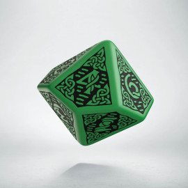 D10 Celtic 3D Green & black Die