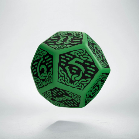 D12 Celtic 3D Green & black Die