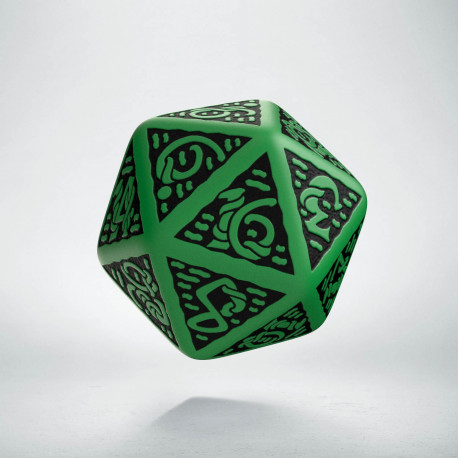 D20 Celtic 3D Green & black Die