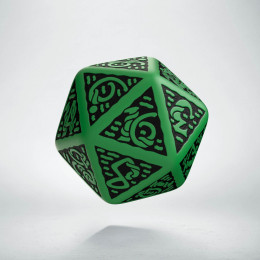 D20 Celtic 3D Green & black Die (1)