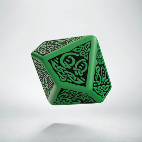 D100 Celtic 3D Green & black Die