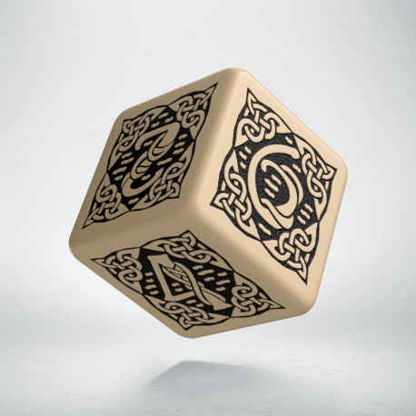 D6 Celtic 3D Beige & black Die