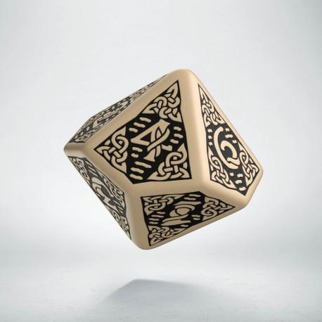 D10 Celtic 3D Beige & black Die