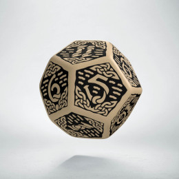D12 Celtic 3D Beige & black Die (1)
