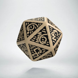 D20 Celtic 3D Beige & black Die (1)