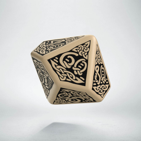 D100 Celtic 3D Beige & black Die