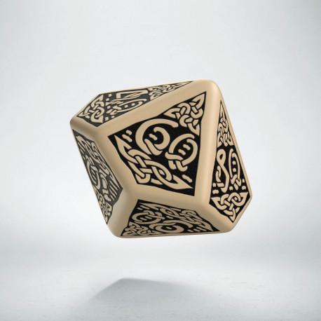 D100 Celtic 3D Beige & black Die