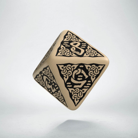 D8 Celtic 3D Beige & black Die