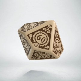 D100 Steampunk Clockwork Beige & brown Die