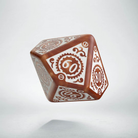 D100 Steampunk Clockwork Caramel & white Die
