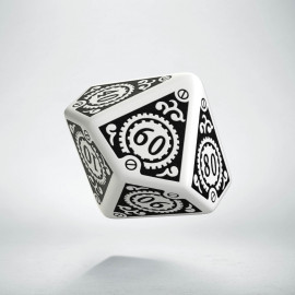D100 Steampunk Clockwork White & black Die