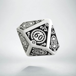 D100 Steampunk Clockwork White & black Die (1)