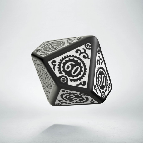 D100 Steampunk Clockwork Black & white Die