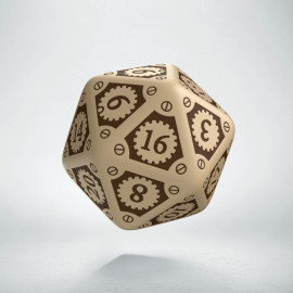 D20 Steampunk Clockwork Beige & brown Die (1)