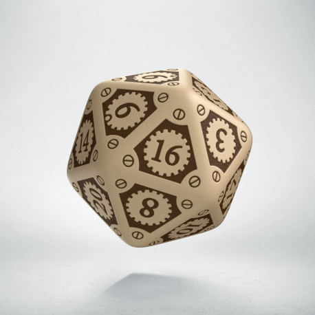 D20 Steampunk Clockwork Beige & brown Die