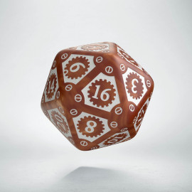 D20 Steampunk Clockwork Caramel & white Die