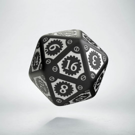 D20 Steampunk Clockwork Black & white Die