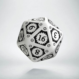D20 Steampunk Clockwork White & black Die (1)