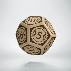 D12 Steampunk Clockwork Beige & brown Die