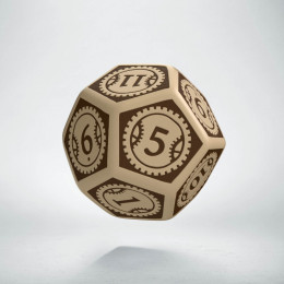D12 Steampunk Clockwork Beige & brown Die (1)