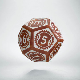 D12 Steampunk Clockwork Caramel & white Die (1)