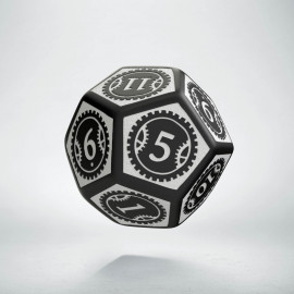 D12 Steampunk Clockwork Black & white Die (1)
